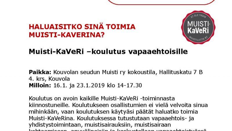 Muisti KaVeRi -koulutus vapaaehtoisille